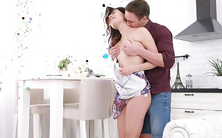 Teen beauty shakes the route inches respecting her soaked little fanny
