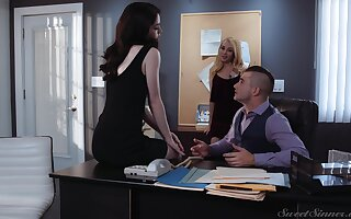 Hot leading lady fucks both whores at the office