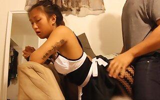 Exxxtra Small Asian Maid Cleans A Big Penis - Handjob