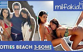Rosa & Sofia enjoying dick & pussy at one's fingertips the beach! Milfakia.com