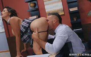 A hot sexy student hooks forth with get under one's professor to gulley get under one's class