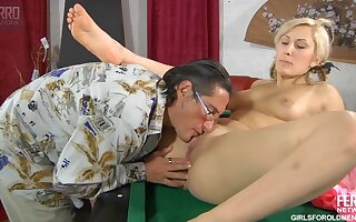 Nice Blond Hair Daughter Together with Horny Old Man