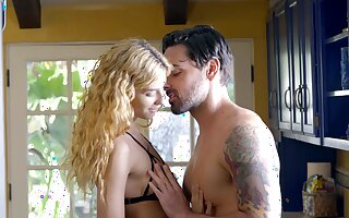 Nutriment blonde sits on top and rides her man like a goddess