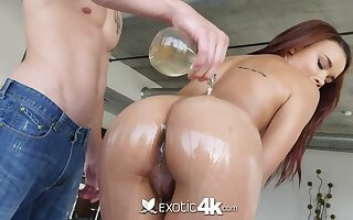 Having got lubed busty cowgirl is ready for doggy increased by horseshit riding workout