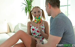 Elfish and bright pigtailed nympho bends over for wild doggy pounding