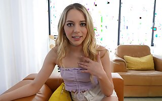 Incomparable blonde girl Lily Larimar goes down more than her knees to blow