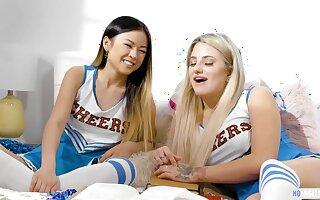GirlsWay: Smart Asian teen Lulu Chu and the cheerleader manager Harmony Rivers having sex exceeding PornHD