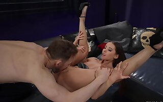 Magic girl's feet covered with fresh sperm charges pussyfuck