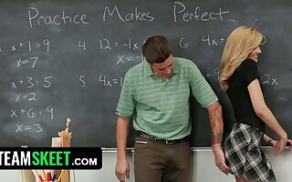 Hot Blonde Student Ditches Prom And Gets Fucked In Classroom