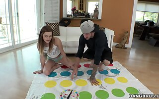 Skinny girl Alaina Dawson drops her clothes to the fullest extent a finally playing Twister game