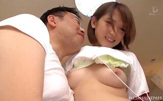 Japanese teen in miniskirt Shiina Sora seduces an old guy