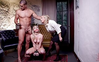 Submissive blonde roughly fucked helter-skelter a dirty BDSM trine