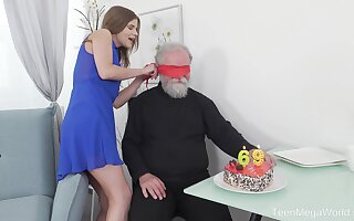 Old vs young porn with an derisive superannuated perv and small tits Sarah Kay