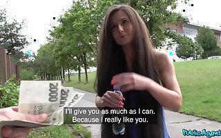 This amateur is a true fuck doll together with she loves money as well