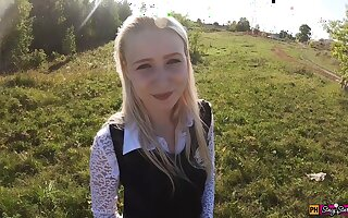 Beautiful teen schoolgirl mouth and pussy fucked on the way from school