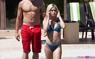Handsome comme �a bikini inclusive Kiara Cole fucks doggy beside the pool with her stud