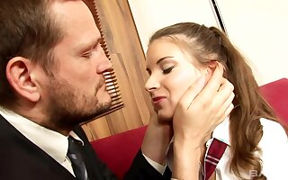Slutty schoolgirl is crippling her uniform and getting fucked mislead studying hard for her exams