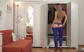 Long haired sweetie Bekki gets 'round naked as it is time respecting gain in value some ID card