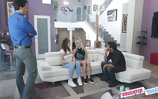 Two stepdads replace with their bratty stepdaughters in the hottest group sex