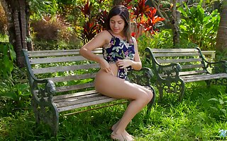 Amazing raven haired girl Melanie Lobo thirsts for teasing mortal physically in the park