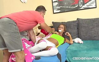 Pigtailed bitch in baby clothes gets fucked hard