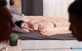 Dude fulfills his sleeping GF's sexual fantasy together with Kiara loves dig up